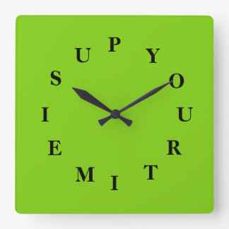 Your Time Is Up Yellowgreen Wall Clock by Janz