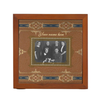 Your Vintage Leather Look  (photo on two sides) Desk Organiser