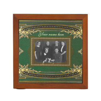 Your Vintage Look Green  (photo on two sides) Desk Organiser