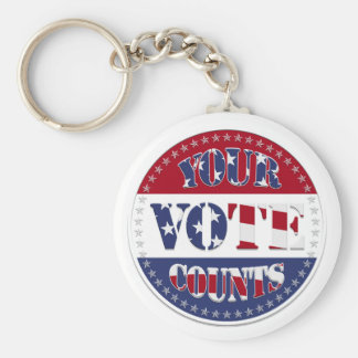 YOUR VOTE COUNTS Round with US Flag & 50 Stars v2 Basic Round Button Key Ring