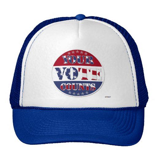 YOUR VOTE COUNTS Round with US Flag & Stars Hats
