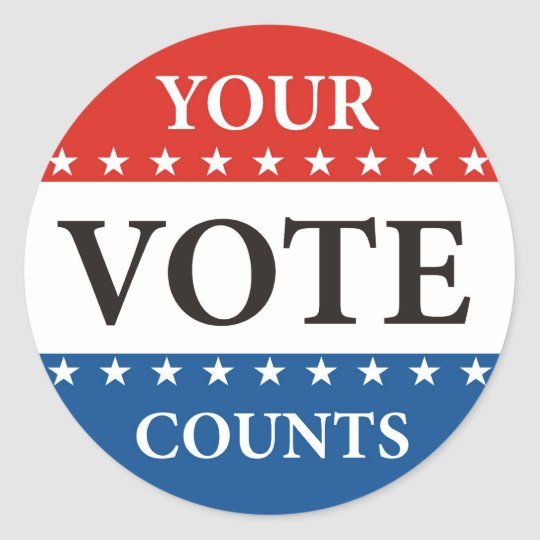 your vote counts usa president elections politics classic round sticker