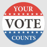 your vote counts usa president elections politics round sticker