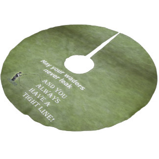Your waders | Tight Line; Fly fishing quote Brushed Polyester Tree Skirt
