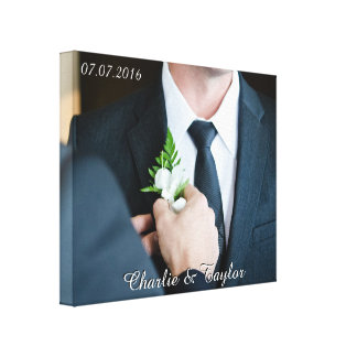 YOUR WEDDING PHOTO custom text wrapped canvas