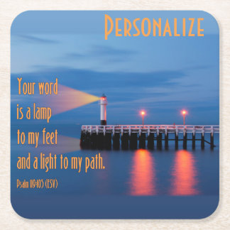 Your Word Is a Light Psalm 119:105 Bible Verse Square Paper Coaster
