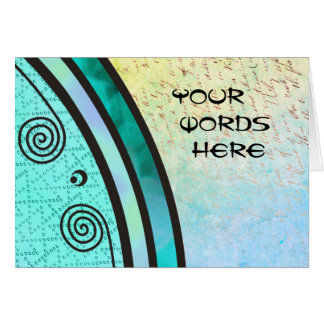 Your Words on Aqua Green Seahorse Card