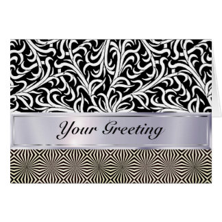 Your Words on this black and white op art chrome Card
