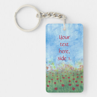Your words Red Poppies Keychains