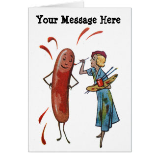 Your Words with Hot Dog Painting Woman Card
