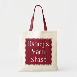 Your Yarn Stash  -  Red Knit Text Template Budget Tote Bag