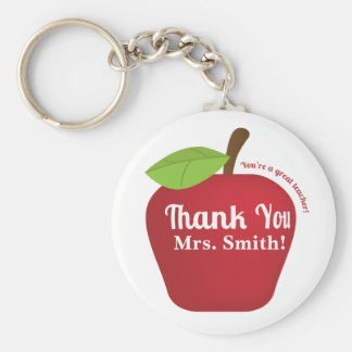 You're a great teacher! Teacher appreciation apple Basic Round Button Key Ring