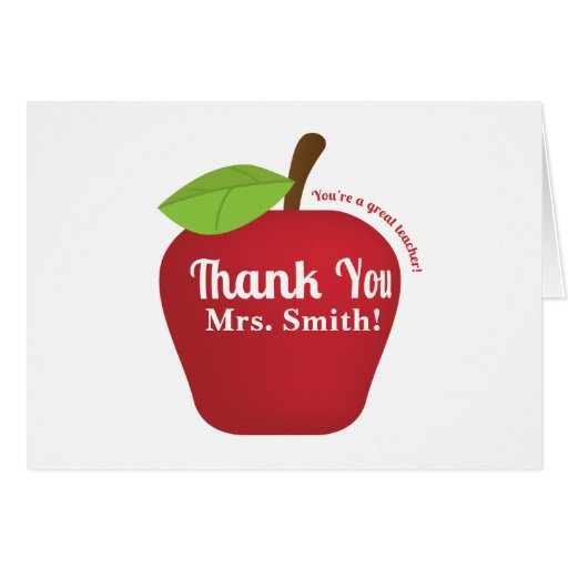 You're a great teacher! Teacher appreciation apple Cards