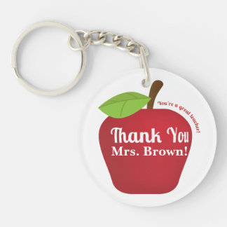 You're a great teacher! Teacher appreciation apple Single-Sided Round Acrylic Key Ring
