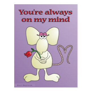 """You're always on my mind rat"" postcard"