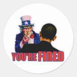 You're Fired! Anti Obama Design Round Stickers