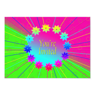 You're Invited Colorful Flower Ring -Multi Purpose 13 Cm X 18 Cm Invitation Card