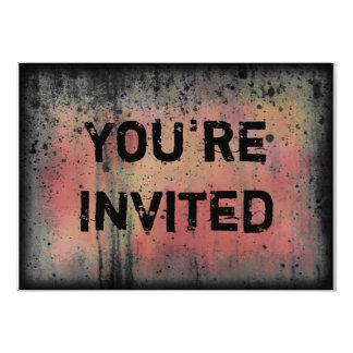 You're Invited Colorful Grunge Halloween Party Card