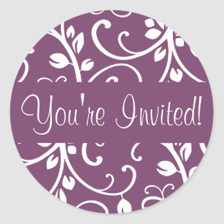 You're Invited Floral Vine Envelope Sticker Seal