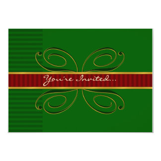 You're Invited... Green/Red/Gold 13 Cm X 18 Cm Invitation Card