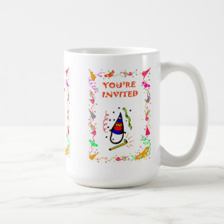 You're invited, party poppers basic white mug