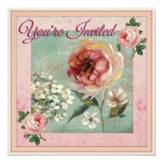 You're Invited Pretty Vintage Style 13 Cm X 13 Cm Square Invitation Card