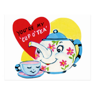 You're My Cup Of Tea Vintage Valentine's Postcard