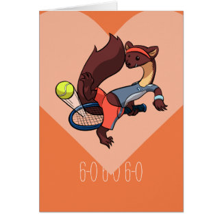 You're My Perfect Match Tennis Pine Marten Cartoon Card