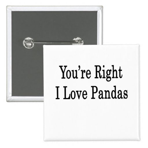 You're Right I Love Pandas Buttons