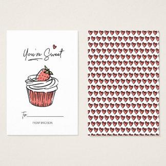 You're Sweet Cupcake Classroom Valentine Card 100p