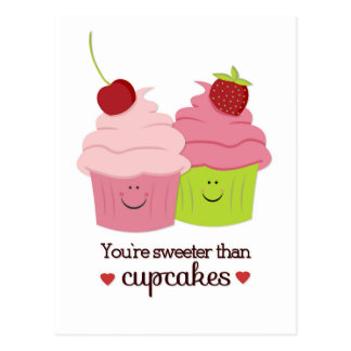You're Sweeter Than Cupcakes Valentine Postcard