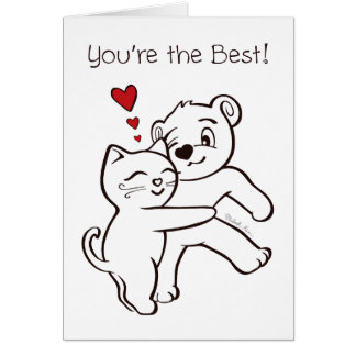 You're the Best Cat and Bear Valentine's Day Card