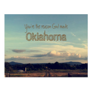"""You're the reason God made Oklahoma"" postcard"
