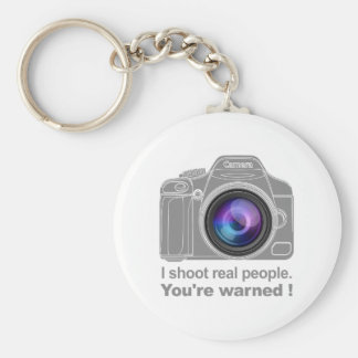You're Warned! Basic Round Button Key Ring