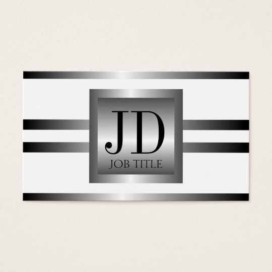 YourJobTitle Silver Metal Metallic Business Card