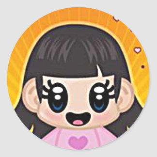 yourri girl pink round sticker