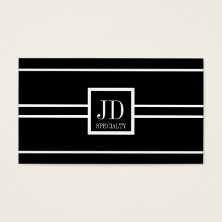 YourSpecialty Black/White Striped Pendant Business Card