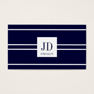 YourSpecialty Dark Blue/White Striped Pendant Business Card