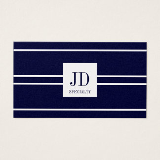 YourSpecialty Platinum Dark Blue Striped Pendant Business Card