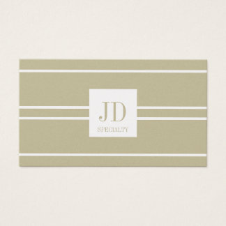 YourSpecialty Tan/White Striped Pendant Gold Paper Business Card