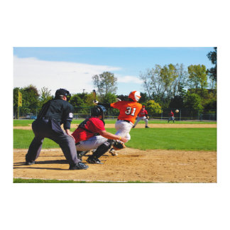 Youth League Baseball Batter Hitting Ball Gallery Wrap Canvas