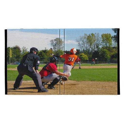 Youth League Baseball Batter Hitting Ball iPad Folio Covers