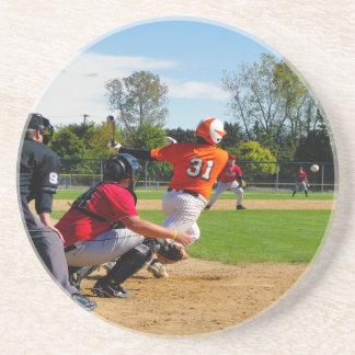 Youth League Baseball Batter Hitting Ball Coasters