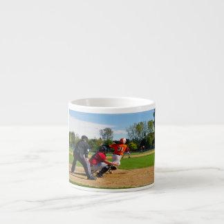 Youth League Baseball Batter Hitting Ball Espresso Mug