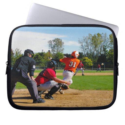 Youth League Baseball Batter Hitting Ball Laptop Sleeve