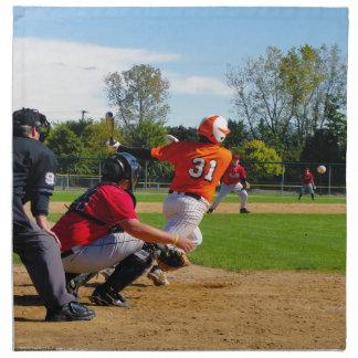 Youth League Baseball Batter Hitting Ball Printed Napkins