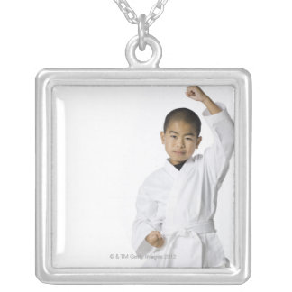 youth practicing martial arts 3 square pendant necklace