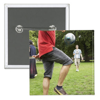 youth, young, friends, park, bbq, grass, trees, 15 cm square badge