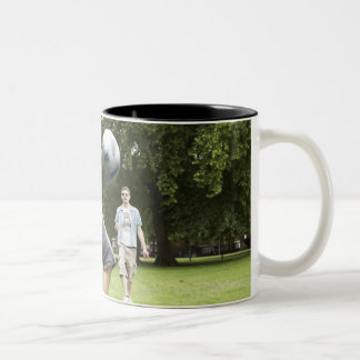 youth, young, friends, park, bbq, grass, trees, Two-Tone mug