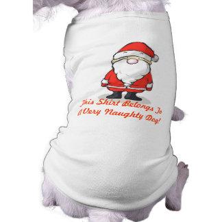 You've Been Naughty! - Christmas Doggy T-Shirt Sleeveless Dog Shirt